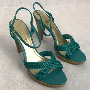 Teal Christian Siriano Heels with Adjustable Strap